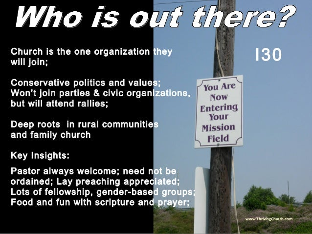 Church is the one organization they will join; Conservative politics and values; Won't join parties & civic organizations,...