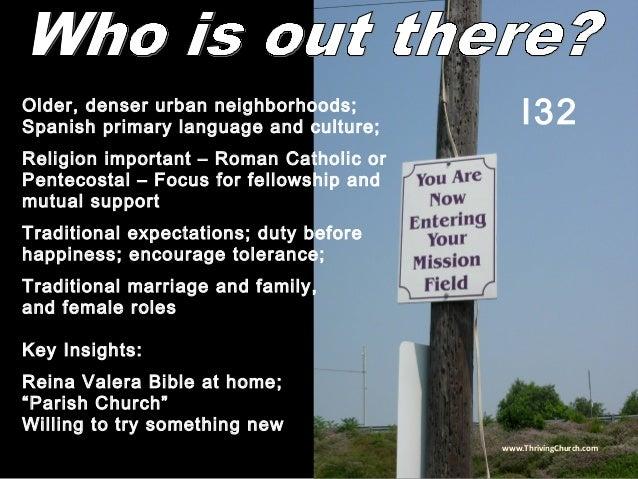 Older, denser urban neighborhoods; Spanish primary language and culture; Religion important – Roman Catholic or Pentecosta...