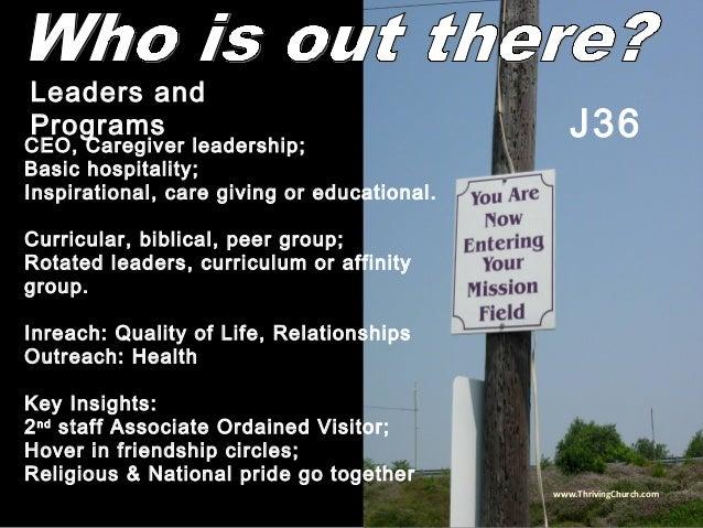CEO, Caregiver leadership; Basic hospitality; Inspirational, care giving or educational. Curricular, biblical, peer group;...