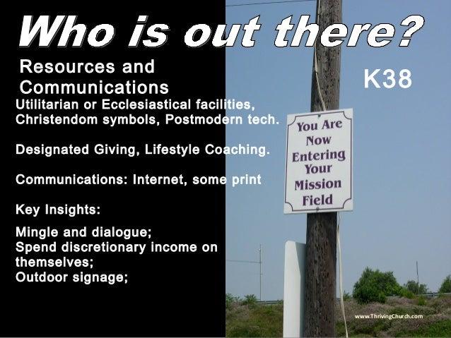 Utilitarian or Ecclesiastical facilities, Christendom symbols, Postmodern tech. Designated Giving, Lifestyle Coaching. Com...