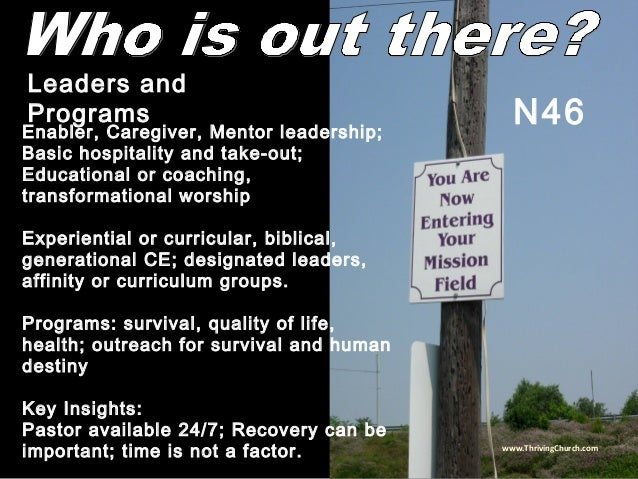 Enabler, Caregiver, Mentor leadership; Basic hospitality and take-out; Educational or coaching, transformational worship E...