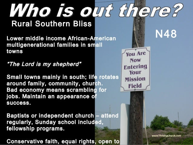 """Lower middle income African-American multigenerational families in small towns """"The Lord is my shepherd"""" Small towns mainl..."""