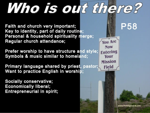 Faith and church very important; Key to identity, part of daily routine; Personal & household spirituality merge; Regular ...