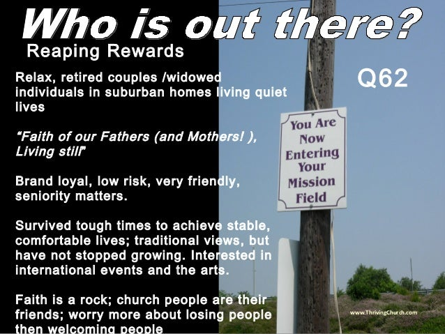 """Relax, retired couples /widowed individuals in suburban homes living quiet lives """"Faith of our Fathers (and Mothers! ), Li..."""