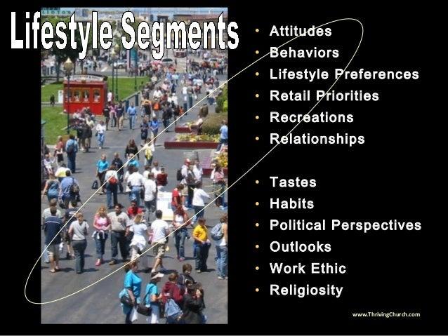 • Attitudes • Behaviors • Lifestyle Preferences • Retail Priorities • Recreations • Relationships • Tastes • Habits • Poli...