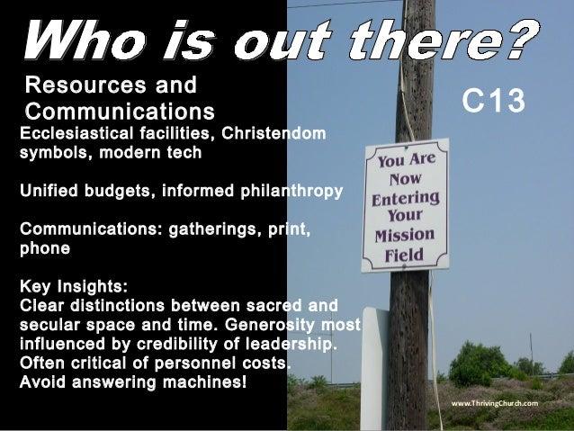 Ecclesiastical facilities, Christendom symbols, modern tech Unified budgets, informed philanthropy Communications: gatheri...