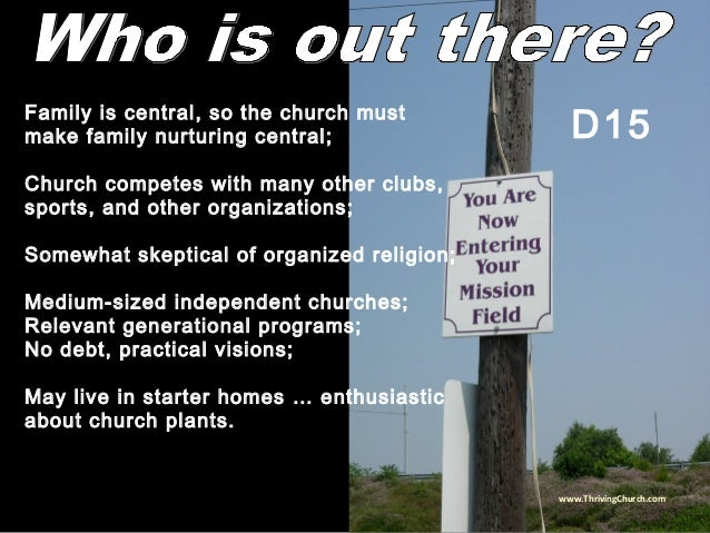 Family is central, so the church must make family nurturing central; Church competes with many other clubs, sports, and ot...
