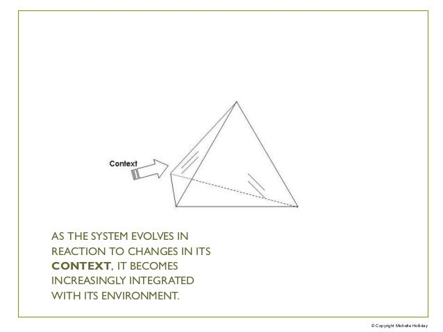AS THE SYSTEM EVOLVES IN REACTION TO CHANGES IN ITS CONTEXT, IT BECOMES INCREASINGLY INTEGRATED WITH ITS ENVIRONMENT. © Co...