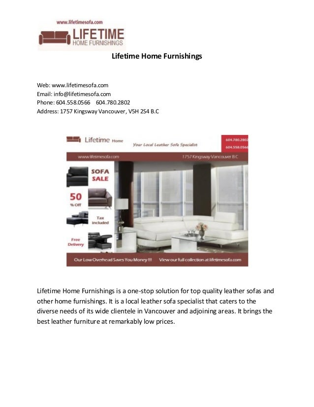 Lifetime Home Furnishings Web  www lifetimesofa com Email   info lifetimesofa. Lifetime Home Furnishings  Leather Furniture Specialist Vancouver