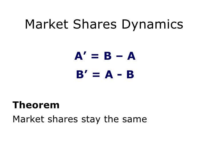 Market Shares Dynamics <ul><li>Theorem </li></ul><ul><li>Market shares stay the same </li></ul>A ' =  B  –  A B ' =  A  -  B