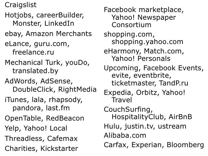 <ul><li>Craigslist </li></ul><ul><li>Hotjobs, careerBuilder, Monster, LinkedIn </li></ul><ul><li>ebay, Amazon Merchants </...