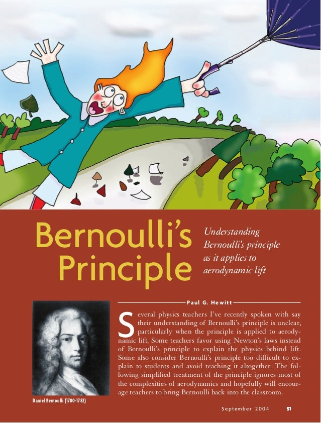 September 2004 5151515151Paul G. HewittPrincipleBernoulli's UnderstandingBernoulli's principleas it applies toaerodynamic ...