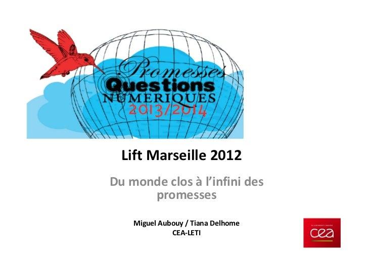 Lift Marseille 2012Du monde clos à l'infini des      promesses    Miguel Aubouy / Tiana Delhome              CEA-LETI