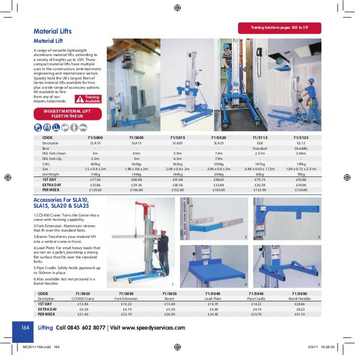 Training Solutions pages 302 to 317      Material Lifts      Material Lift      A range of versatile lightweight      alum...