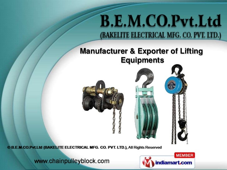 Manufacturer & Exporter of Lifting          Equipments