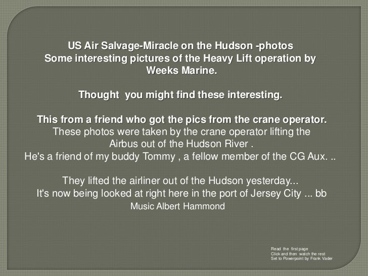 US Air Salvage-Miracle on the Hudson -photos    Some interesting pictures of the Heavy Lift operation by                  ...