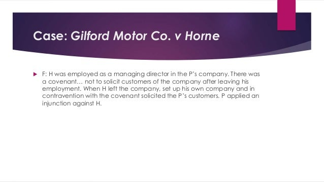 case law on gilford motor co vs horne The principle of separate corporate personality the  in the case of gilford motor co ltd vs horne an  in this case lord justice slade said, our law,.