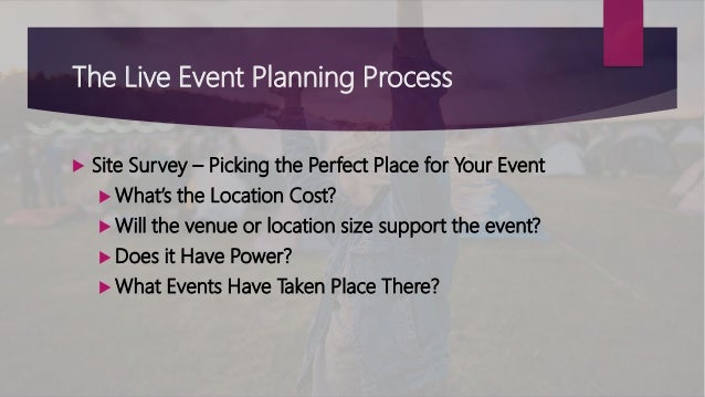 The Live Event Planning Process  Site Survey – Picking the Perfect Place for Your Event  What's the Location Cost?  Wil...