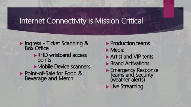 Internet Connectivity is Mission Critical  Ingress - Ticket Scanning & Box Office RFID wristband access points Mobile D...