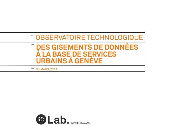 Des gisements de données à la base de services urbains à Genève