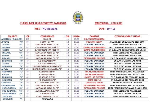 FUTBOL BASE CLUB DEPORTIVO CATARROJA                              TEMPORADA : 2012-2013                                MES...