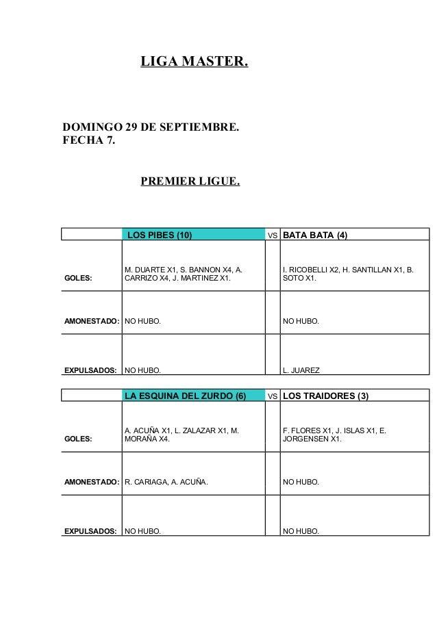 LIGA MASTER. DOMINGO 29 DE SEPTIEMBRE. FECHA 7. PREMIER LIGUE. LOS PIBES (10) VS BATA BATA (4) GOLES: M. DUARTE X1, S. BAN...