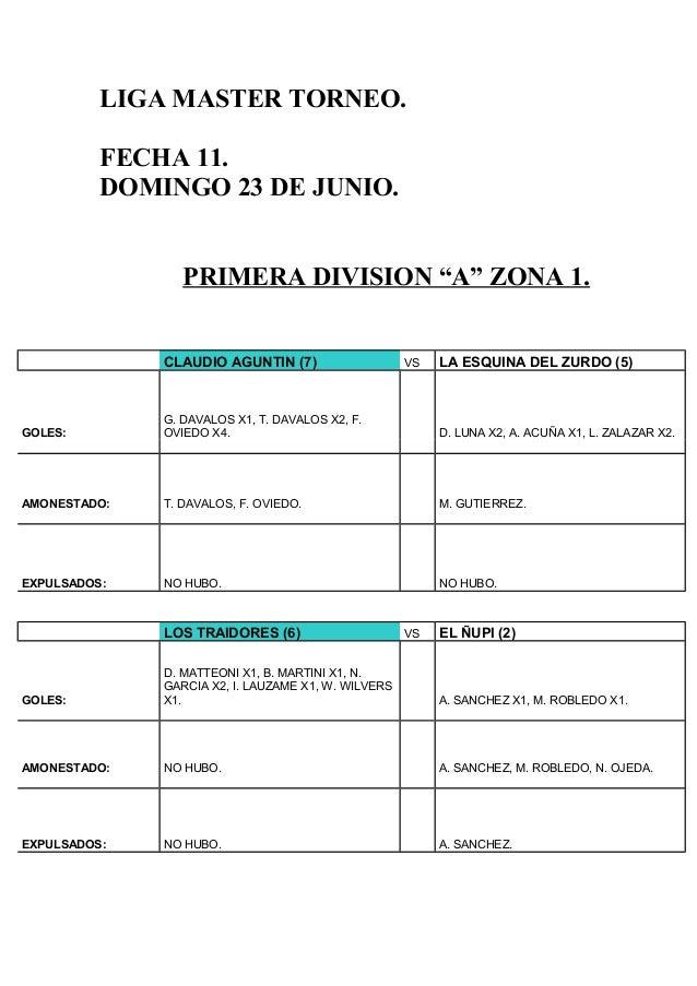 """LIGA MASTER TORNEO.FECHA 11.DOMINGO 23 DE JUNIO.PRIMERA DIVISION """"A"""" ZONA 1.CLAUDIO AGUNTIN (7) VS LA ESQUINA DEL ZURDO (5..."""
