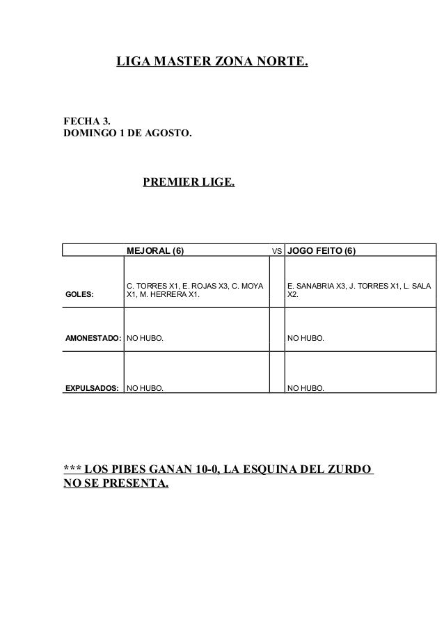 LIGA MASTER ZONA NORTE. FECHA 3. DOMINGO 1 DE AGOSTO. PREMIER LIGE. MEJORAL (6) VS JOGO FEITO (6) GOLES: C. TORRES X1, E. ...