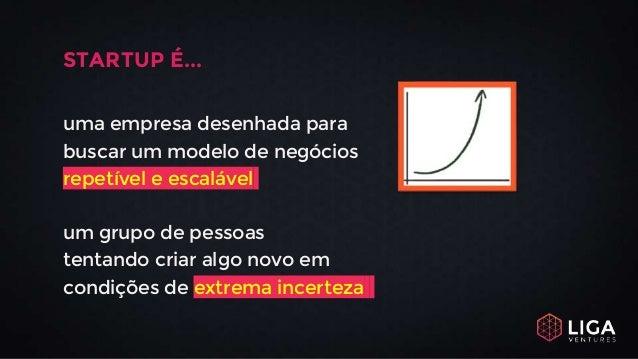 STARTUP É... uma empresa desenhada para buscar um modelo de negócios repetível e escalável um grupo de pessoas tentando cr...