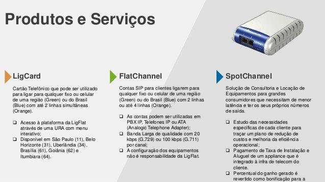 Produtos e Serviços  LigCard  FlatChannel  SpotChannel  Cartão Telefônico que pode ser utilizado para ligar para qualquer ...