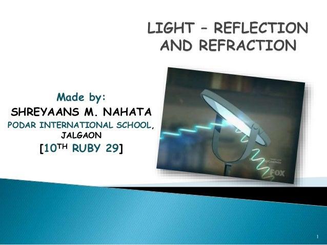 Made by: SHREYAANS M. NAHATA PODAR INTERNATIONAL SCHOOL, JALGAON [10TH RUBY 29] 1