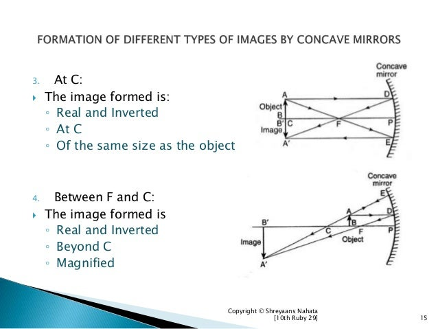 3. At C:  The image formed is: ◦ Real and Inverted ◦ At C ◦ Of the same size as the object 4. Between F and C:  The imag...