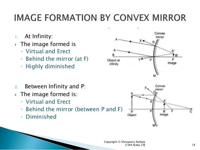 1. At Infinity:  The image formed is ◦ Virtual and Erect ◦ Behind the mirror (at F) ◦ Highly diminished 2. Between Infini...