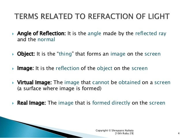 """ Angle of Reflection: It is the angle made by the reflected ray and the normal  Object: It is the """"thing"""" that forms an ..."""