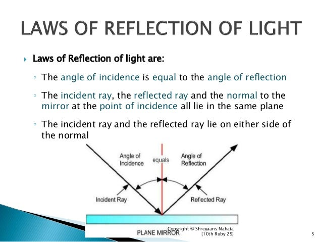  Laws of Reflection of light are: ◦ The angle of incidence is equal to the angle of reflection ◦ The incident ray, the re...