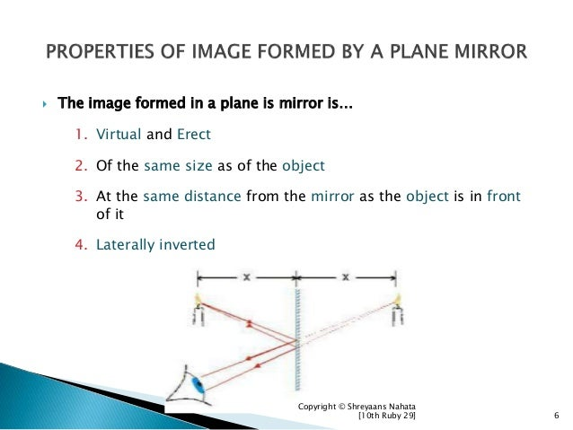  The image formed in a plane is mirror is… 1. Virtual and Erect 2. Of the same size as of the object 3. At the same dista...