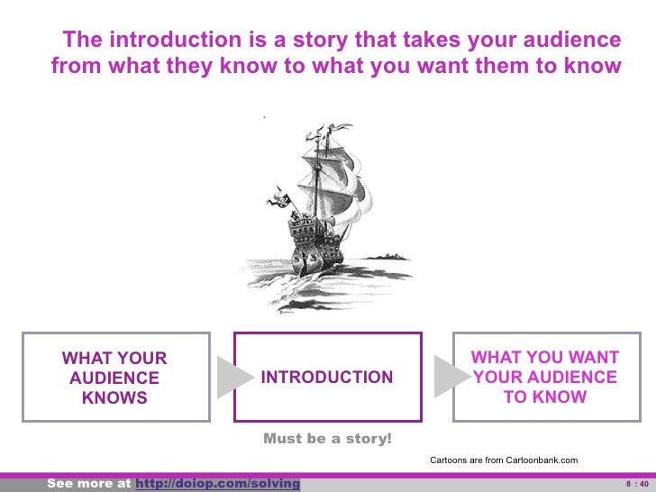 The introduction is a story that takes your audience       from what they know to what you want them to know             W...