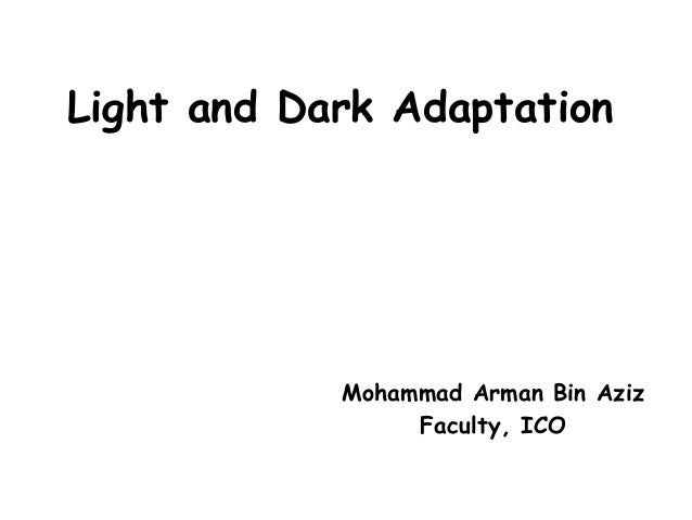 Light and Dark Adaptation Mohammad Arman Bin Aziz Faculty, ICO