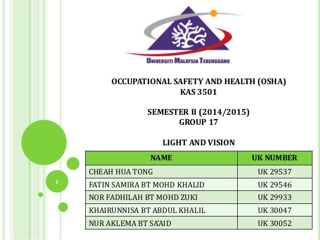OCCUPATIONAL SAFETY AND HEALTH (OSHA) KAS 3501 SEMESTER II (2014/2015) GROUP 17 LIGHT AND VISION NAME UK NUMBER CHEAH HUA ...
