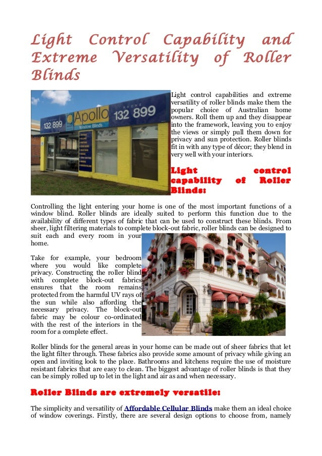 Light Control Capability and Extreme Versatility of Roller Blinds Light control capabilities and extreme versatility of ro...