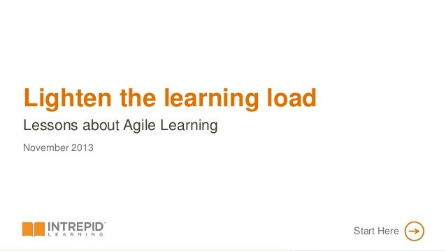 Lighten the learning load Lessons about Agile Learning PROPRIETARY & CONFIDENTIAL  November 2013  Start Here  MAIN MENU