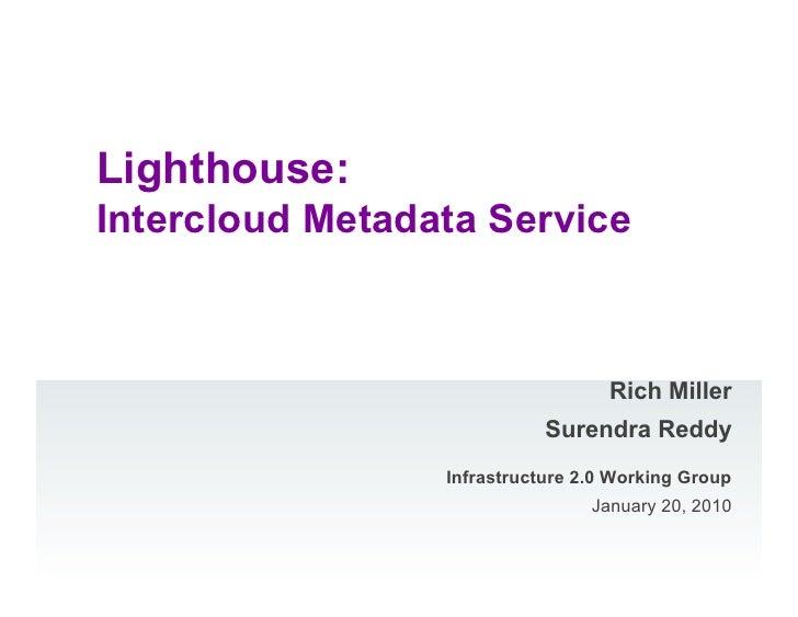Lighthouse: Intercloud Metadata Service                                       Rich Miller                             Sure...