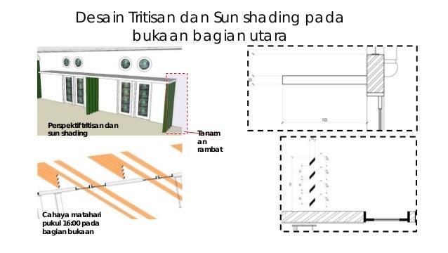 Desain Tritisan dan Sun shading pada bukaan bagian utara Perspektif tritisan dan sun shading Cahaya matahari pukul 16:00 p...
