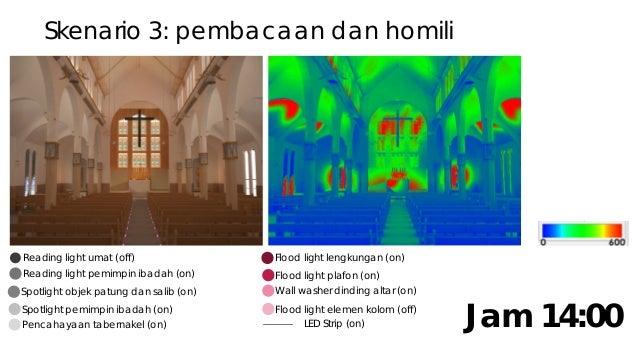 Skenario 4: komuni Reading light umat (off) Reading light pemimpin ibadah (on) Spotlight objek patung dan salib (on) Spotl...