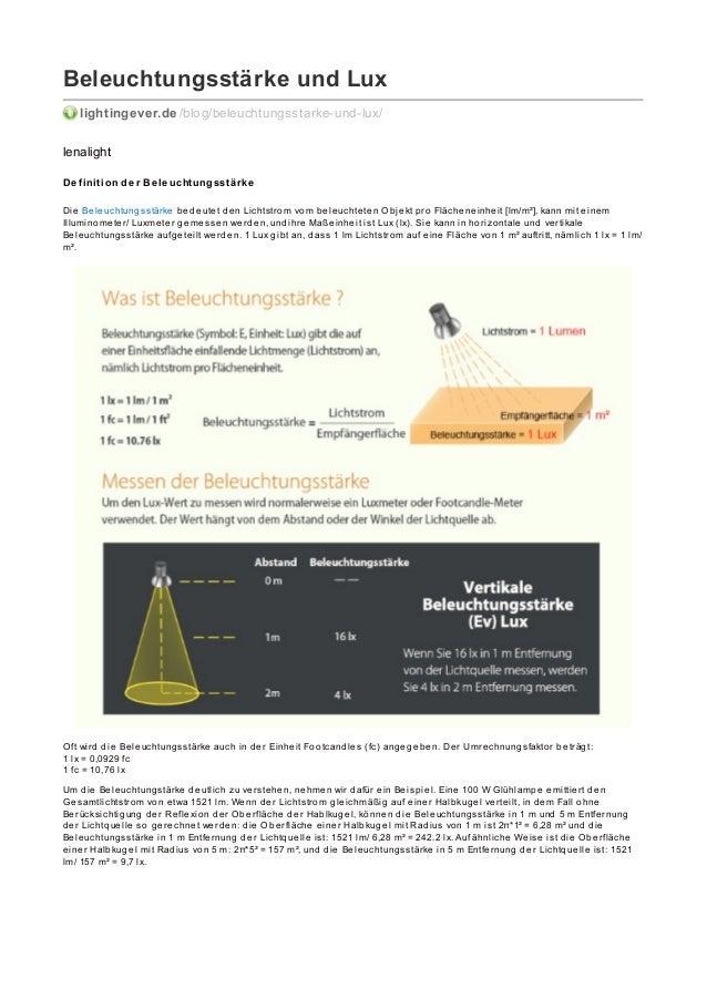 Beleuchtungsstärke und Lux lightingever.de /blog/beleuchtungsstarke-und-lux/ lenalight De finition de r Be le uchtungsstär...