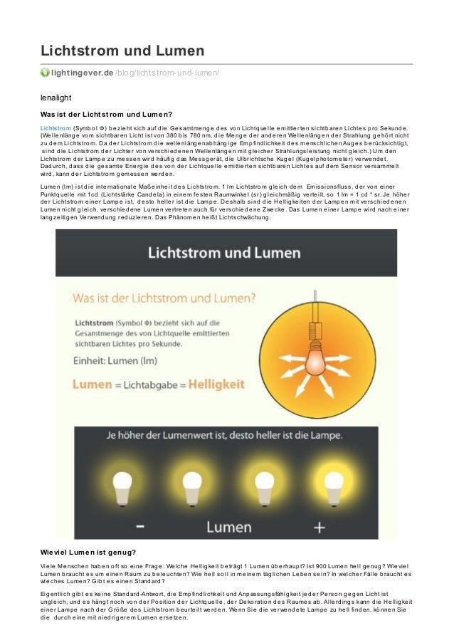 Lichtstrom und Lumen lightingever.de /blog/lichtstrom-und-lumen/ lenalight Was ist der Licht st rom und Lumen? Lichtstrom ...