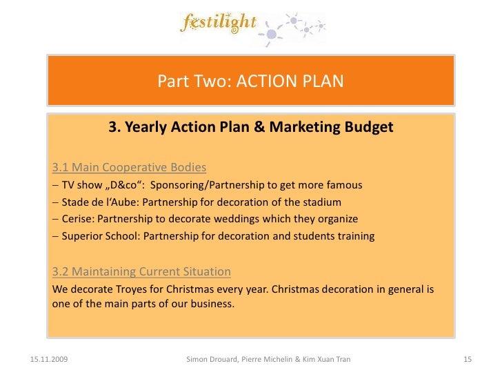 Free marketing plan sample of a lighting services Festilight by – Sample Marketing Action Plan