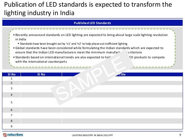 PPT; 9. 9 Publication of LED standards is expected to transform the lighting industry ...  sc 1 st  SlideShare & Market Research Report : Lighting industry in india 2015 - Sample