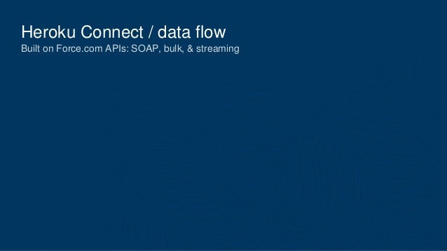 Heroku Connect / data flow Built on Force.com APIs: SOAP, bulk, & streaming