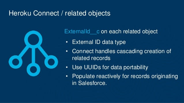 Heroku Connect / related objects ExternalId__c on each related object • External ID data type • Connect handles cascading ...